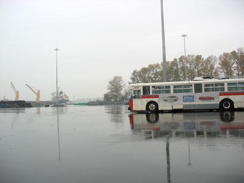 A trolley awaits its turn on the ship.