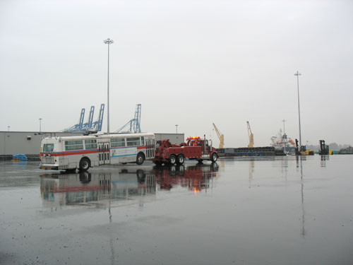 A trolley being towed to the ship.