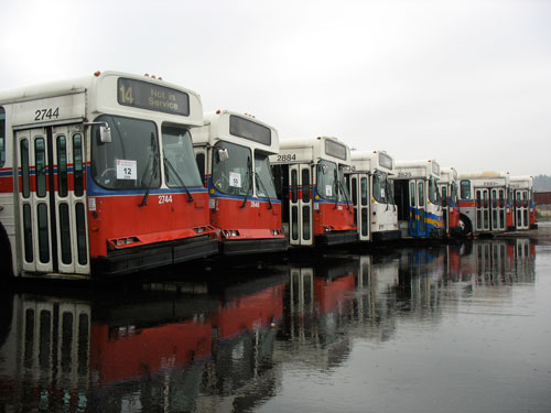 The 80 trolleys were all parked together in a back corner of the docks.