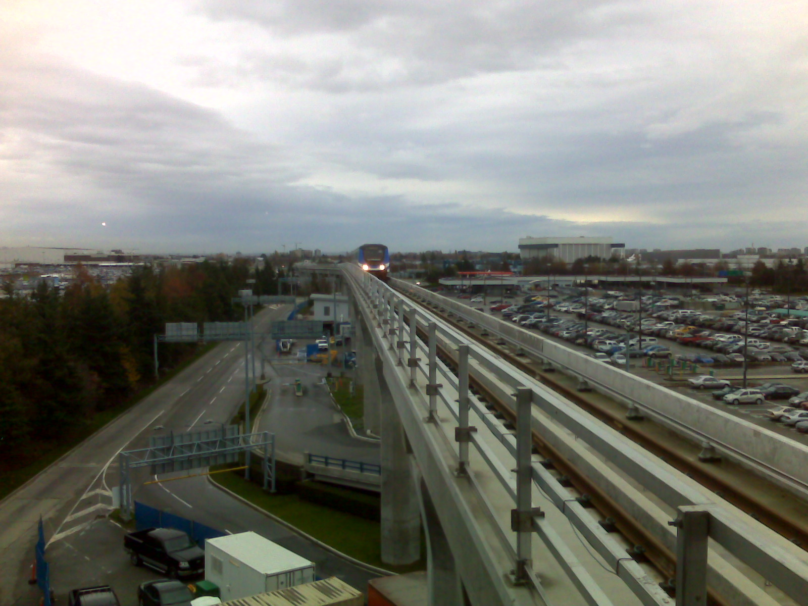 The Canada Line train approaches Vancouver International Airport Station.