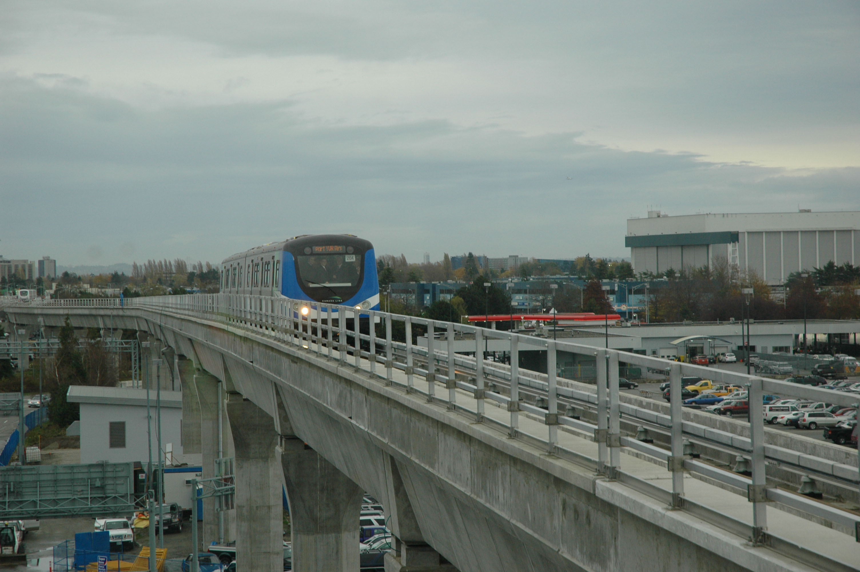 The same Canada Line train a bit earlier in its journey.