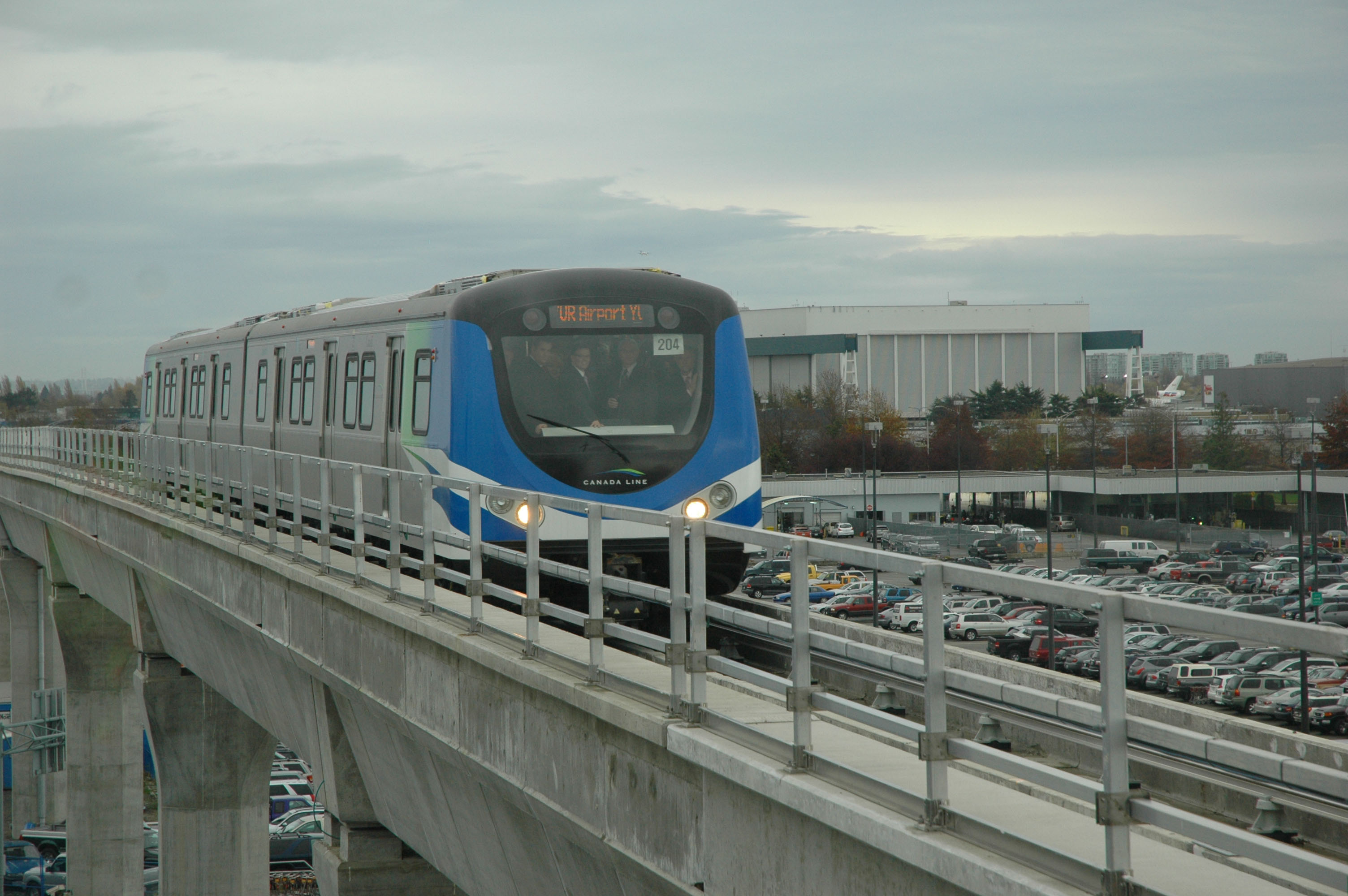 The Canada Line train, still approaching YVR!