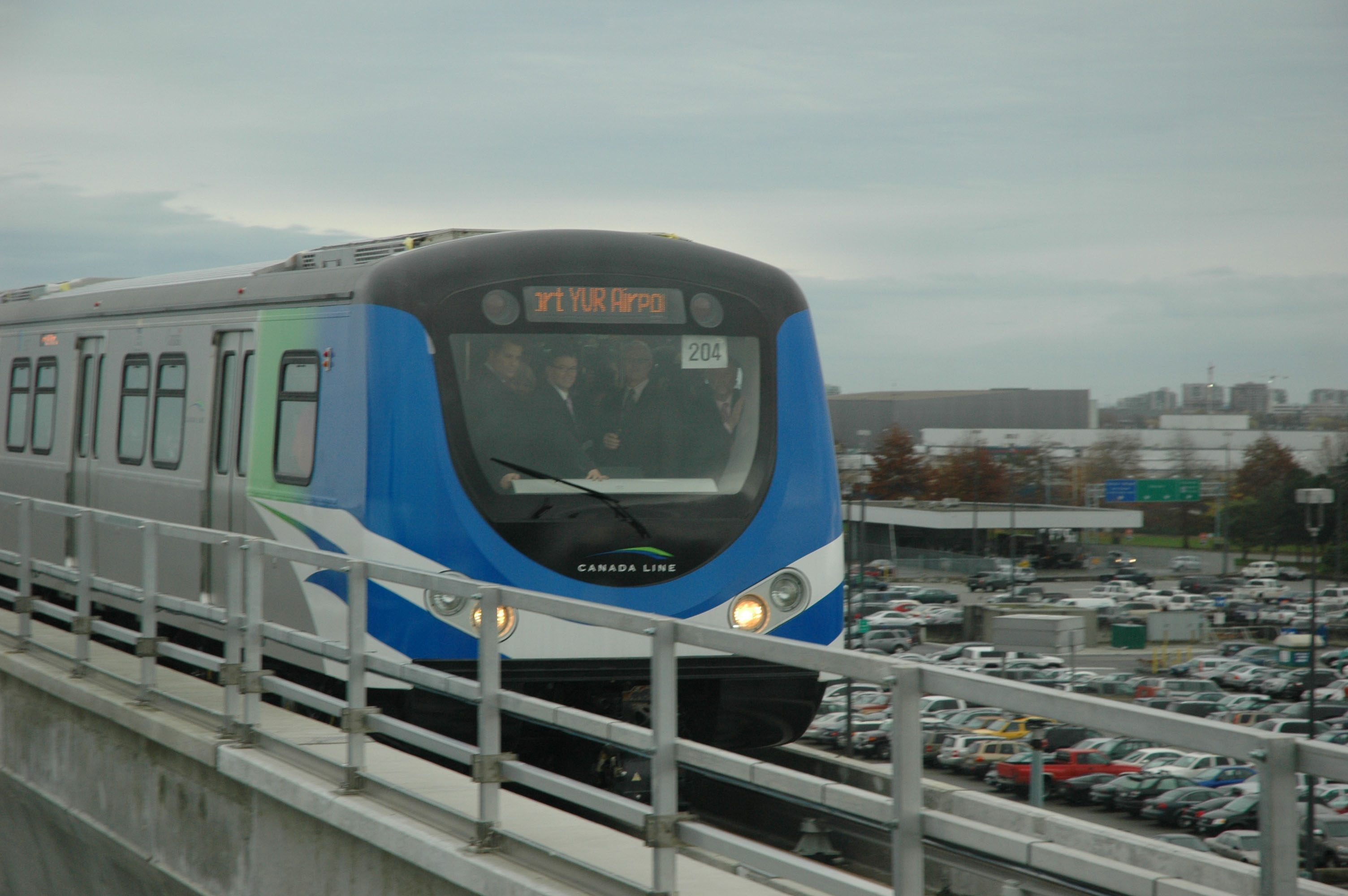 A Canada Line train approaches YVR Station, carrying its first passengers from Bridgeport Station on a Nov. 12  trial run.