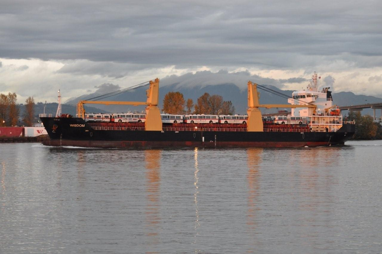 Taken after the vessel Wisdom just passes under the Alex Fraser Bridge in Delta. Photo by Terry Muirhead.