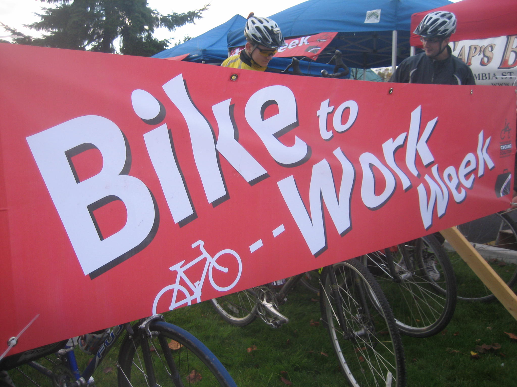 The Bike to Work Week banner at the Gilmore commuter station.
