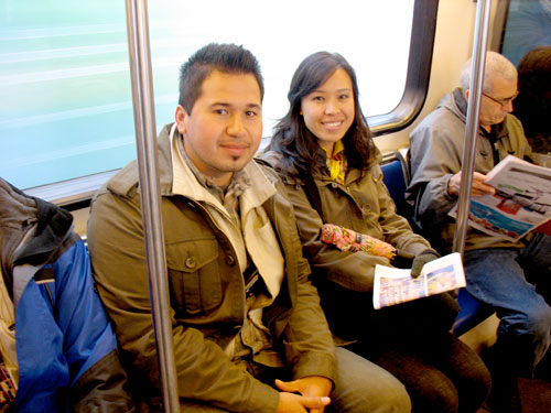 Stephen and Crystal, two UCLA students studying Vancouver and its transportation system.
