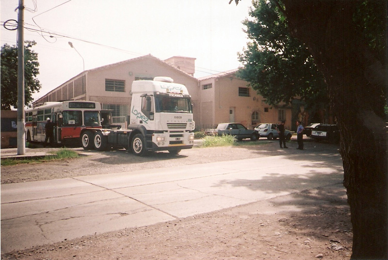 A trolley being towed.