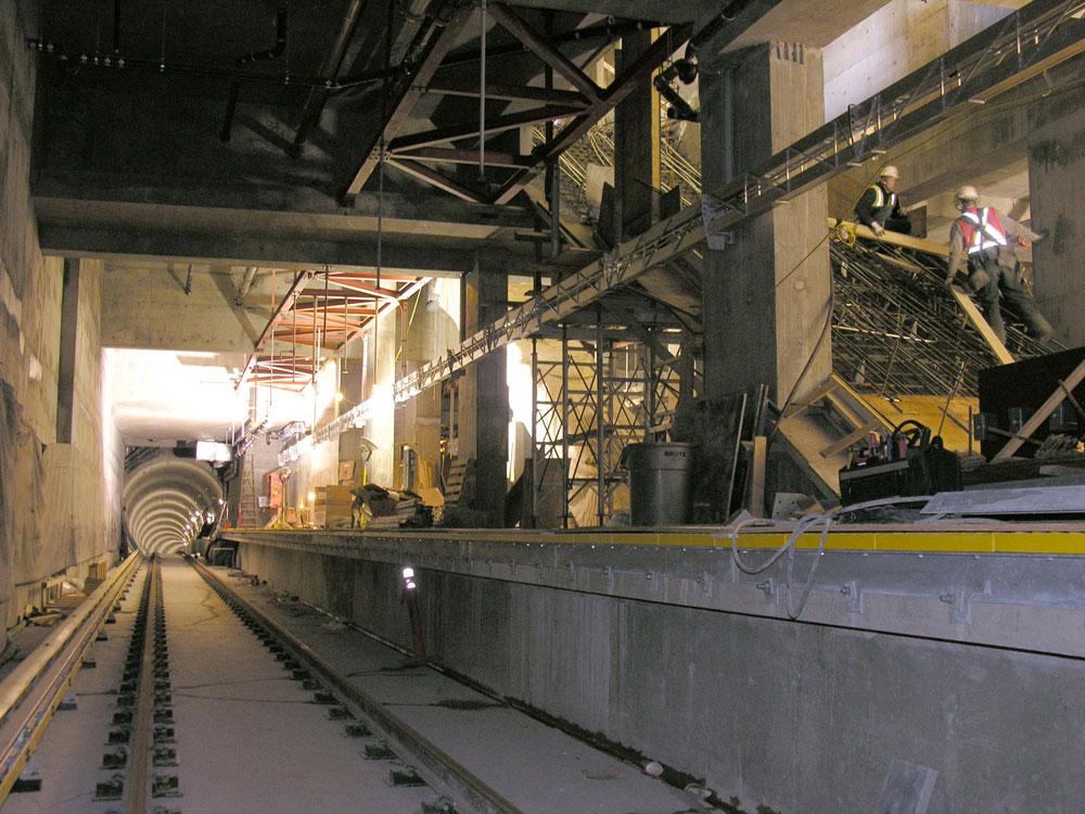 Facing south, looking down the inbound train tunnel.
