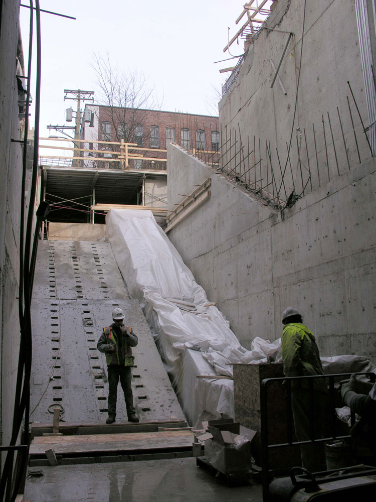 The stairs leading to the Yaletown Station entrance.