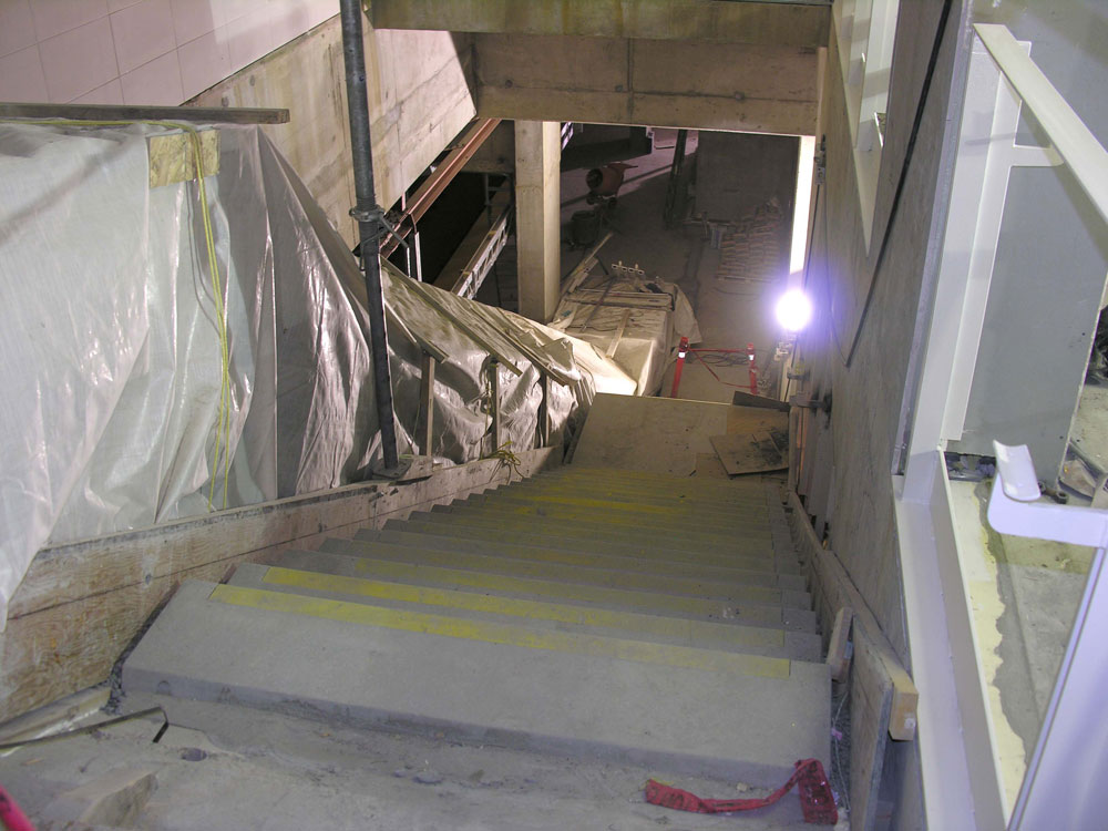 The steps leading down to the platform level.