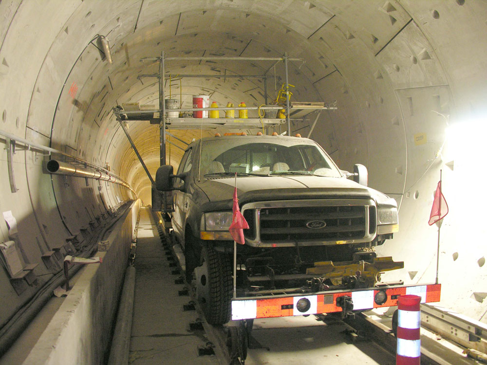 A high-rail truck, built for riding the rails!