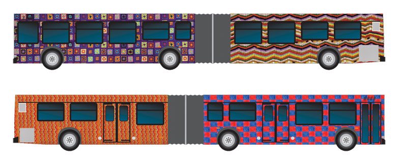 The two sides of the afghan-wrapped articulated trolley that will be travelling the #3 route. (Click for a larger version!)