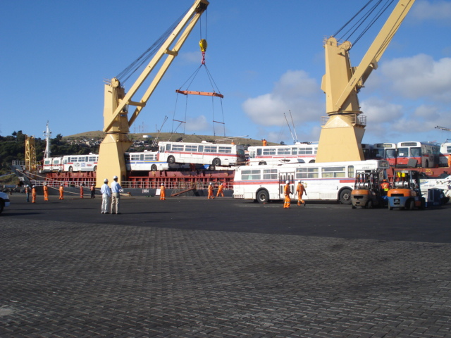 Our retired trolleys, arriving in sunny San Antonio after many days at sea.