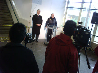 Doug Kelsey and Ward Clapham at the press conference, held at Broadway Station today.