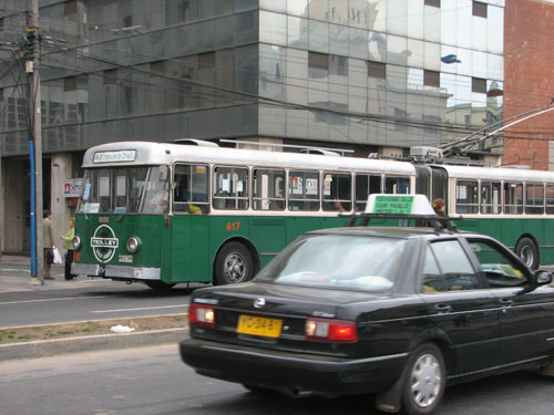 A trolley in Valparaiso, Chile.