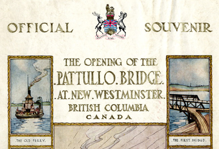 A detail from the cover of the 1937 Pattullo Bridge souvenir programme. Scans provided courtesy of the <a href=http://www.burnabyvillagemuseum.ca>Burnaby Village Museum</a>.