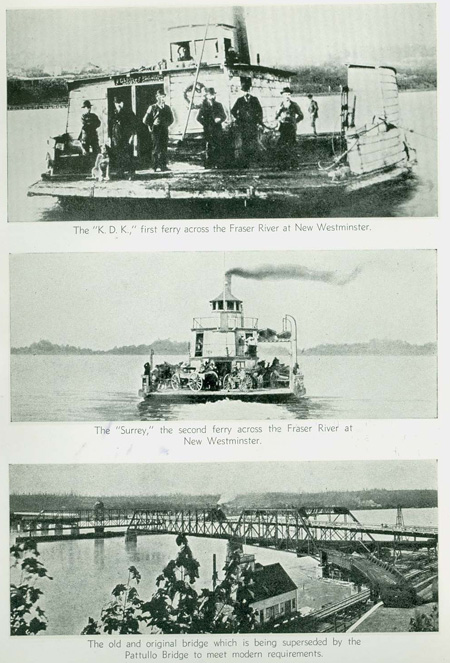 The bridge and two ferries that existed before the Pattullo Bridge. Scans provided courtesy of the <a href=http://www.burnabyvillagemuseum.ca>Burnaby Village Museum</a>.