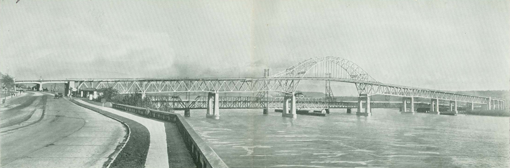 A photograph of the Pattullo Bridge upon completion, from the centre of the souvenir programme. Scans provided courtesy of the <a href=http://www.burnabyvillagemuseum.ca>Burnaby Village Museum</a>.