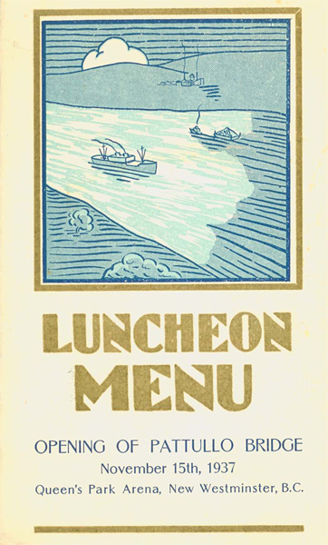 The cover of the luncheon menu. Scan provided courtesy of the <a href=http://www.burnabyvillagemuseum.ca>Burnaby Village Museum</a>