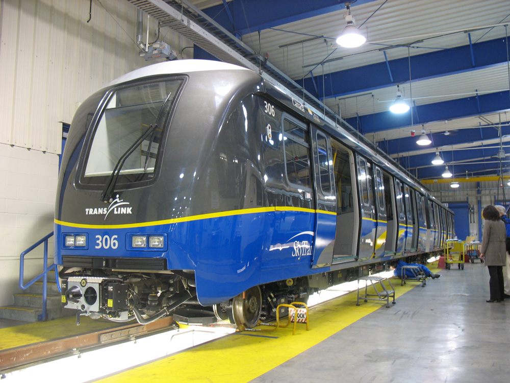 One of the 48 new SkyTrain cars that will boost capacity during the Olympic period.