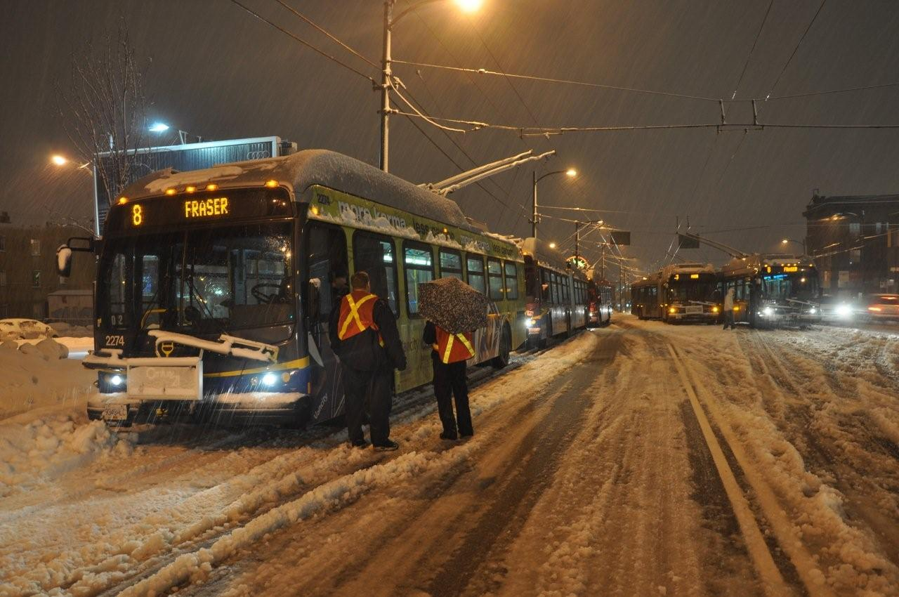 Trolleys stuck in the snow on Main Street, January 4, 2009. Photo by the indefatigable Terry Muirhead. (Thanks Terry for all the photos you send in!)