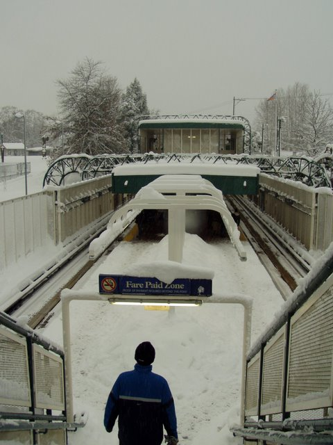 The snowy 29th Avenue SkyTrain station on Dec. 24, 2008. Photo courtesy kind reader Bill Kinkaid!