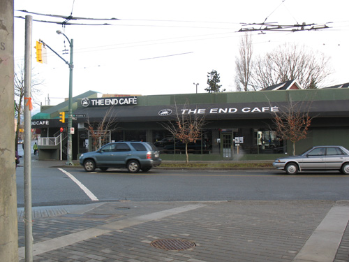 Here's what the End Cafe looks like, as you approach it from Commercial Drive Station.