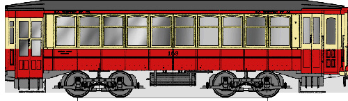 A detail from one of Jason Vanderhill's historical trolley papercrafts.