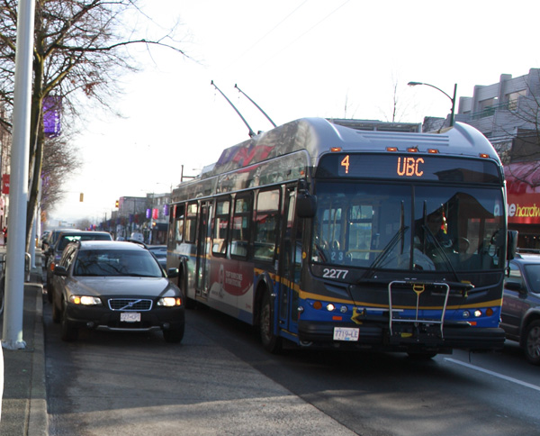 The #4, cruising down 4th Ave in Kitsilano.