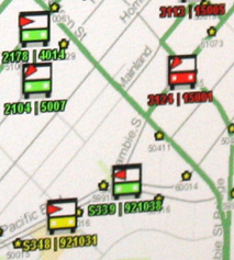 An example of the colour code used on the real-time maps.