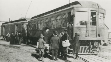 The very first interurban on the Burnaby Lake line, leaving New Westminster. (Item 166-001, from the Burnaby Historical Society Community Archives Collection, courtesy of the City of Burnaby Archives.)