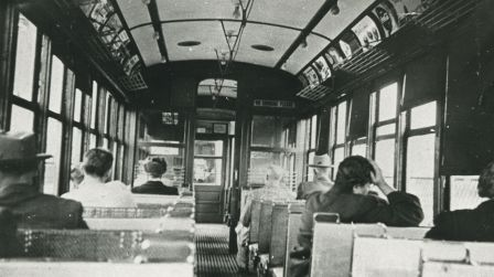 Photograph of a Burnaby Lake Interurban tram interior, dated 1930—it gives you a great feel of what it's like to ride the tram. This car is actually is a sister car to the restored interurban held at the Burnaby Village Museum. (Item 204-372, from the Mayor's Office fonds, courtesy of the City of Burnaby Archives.)