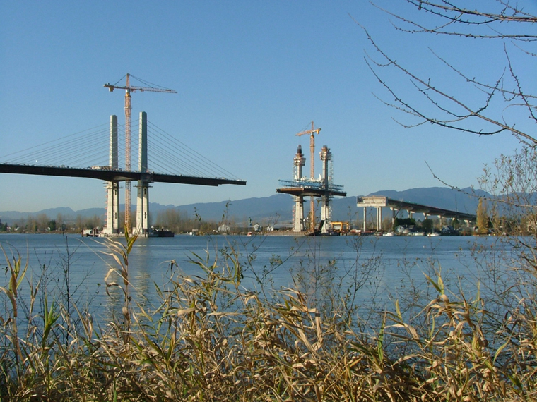 The Golden Ears Bridge, in mid-construction. The bridge will be in one piece when you go out to celebrate in June!
