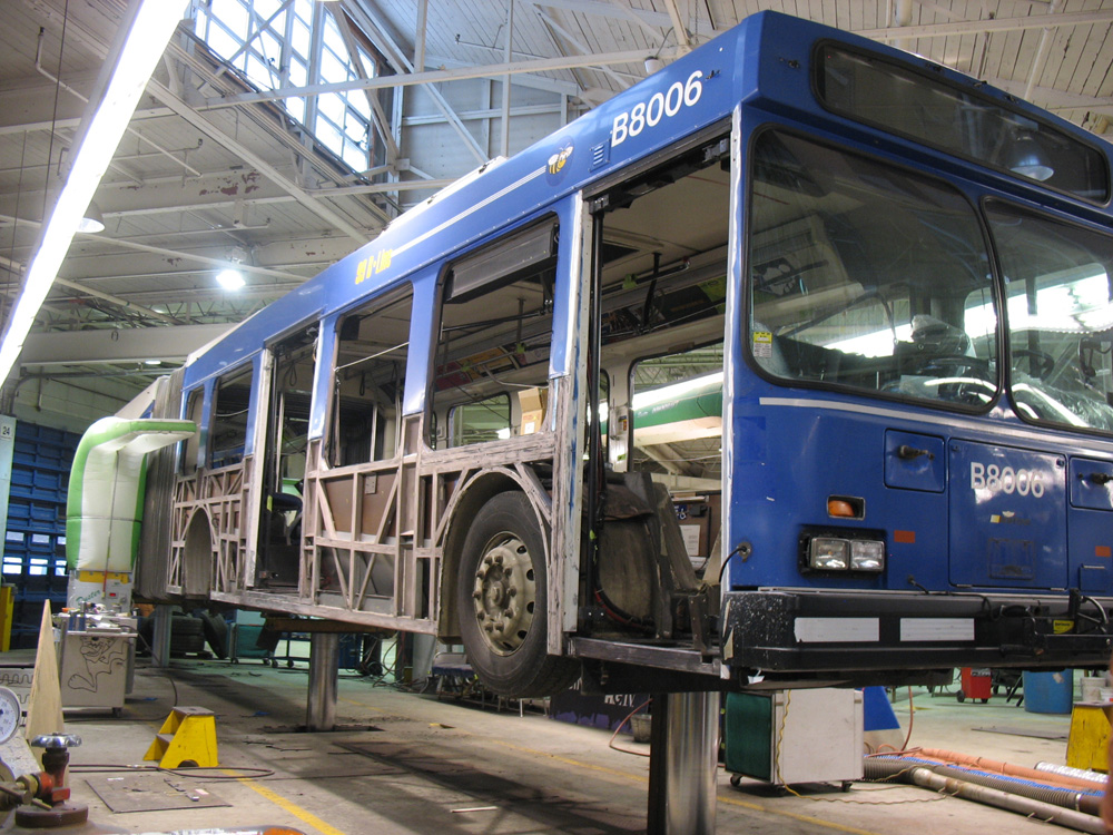An articulated bus getting a mid-life overhaul down at Fleet Overhaul, the conventional bus maintenance centre down at Burnaby Transit Centre.