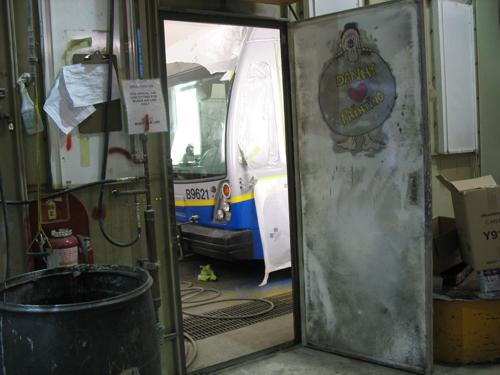 The same Nova bus in the conventional bus paint booth, from a different angle.