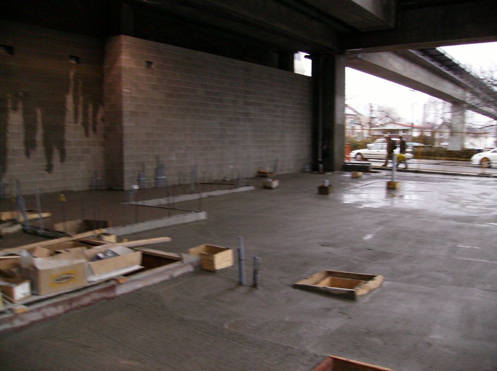 The concrete slab poured in the south half of the station