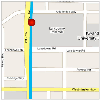 A map of the Lansdowne Station location in Richmond.
