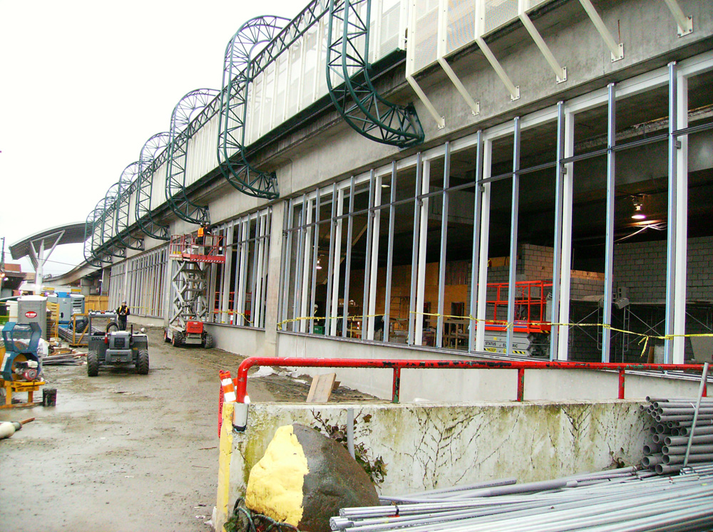 Steel support framework is now up on the west wall. The framework will hold the glass walls when they are finally installed.