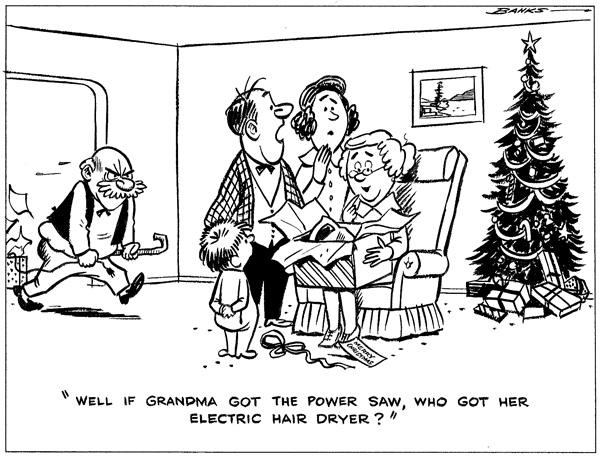 Published in the Dec. 4, 1963 Buzzer. (Transit at the time was a concern of B.C. Hydro, so cartoons on electricity were often featured.)