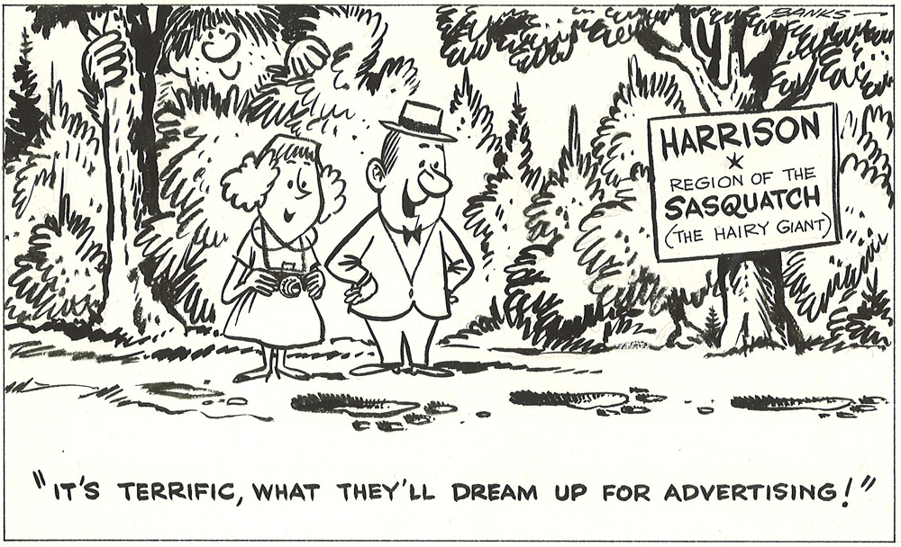 Published in the May 12, 1961 Buzzer. This cartoon refers to the Pacific Stage Lines coach tours, which would take residents out to local holiday destinations.