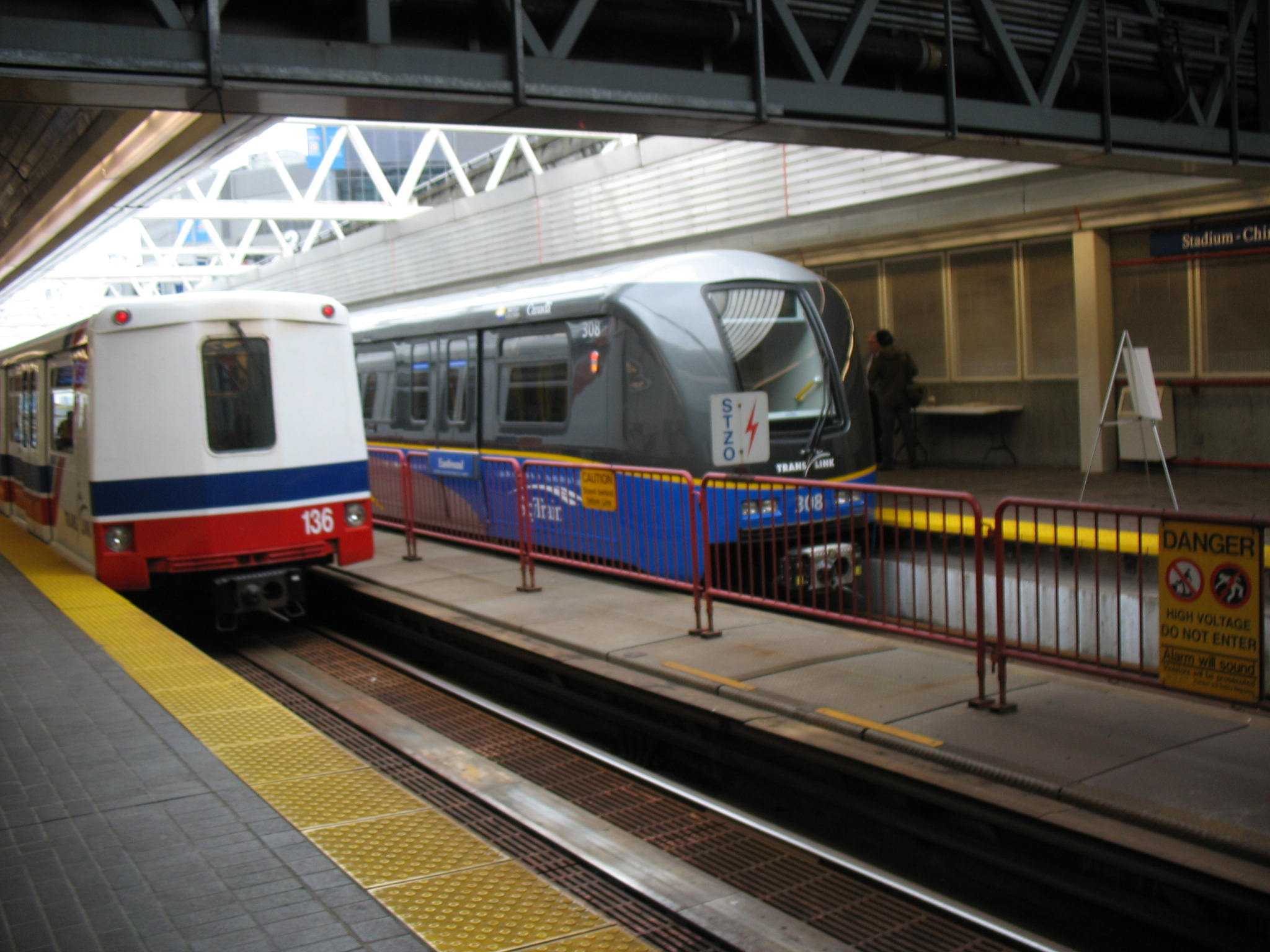 The new SkyTrain car, sitting on the Stadium Station side track.