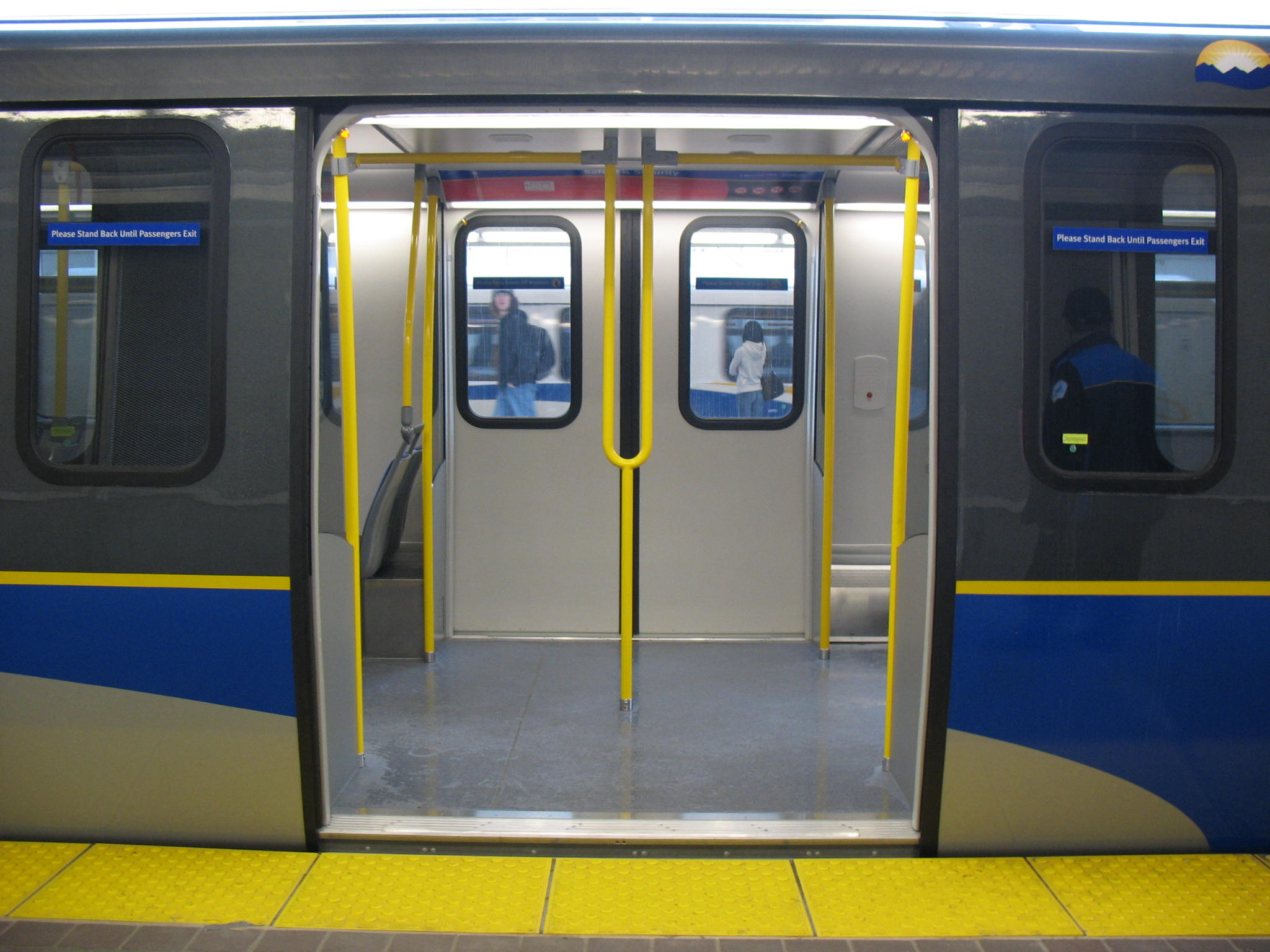 New stanchion arrangement on the new SkyTrain cars.