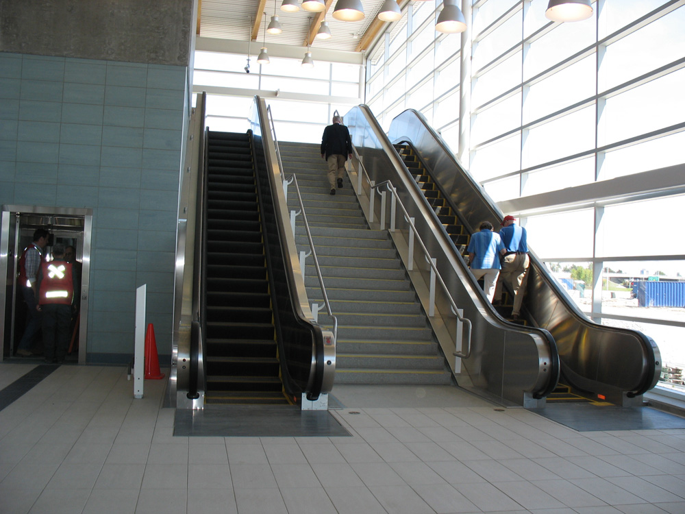 South side escalators, leading up from platform level to the observation deck (that's where you cross over to get to the north side). The escalators were still squeaking since they were so new!