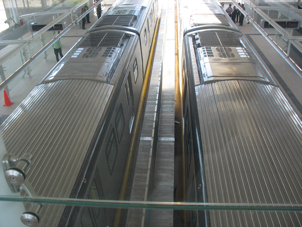 A view of the trains from the upper observation deck level. Click for a larger version.