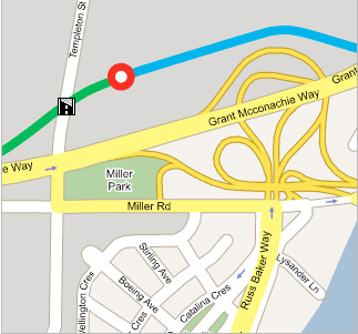 A map of the station location: north of Grant McConachie Way near Templeton Road.