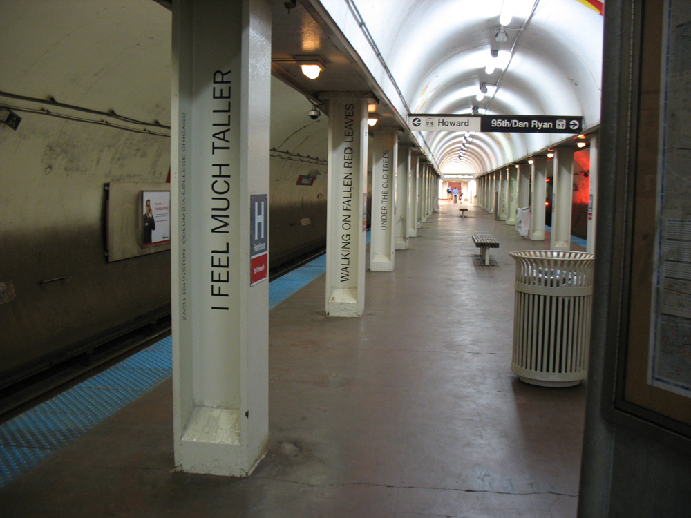 The poetry in Harrison Station is written on the station poles!