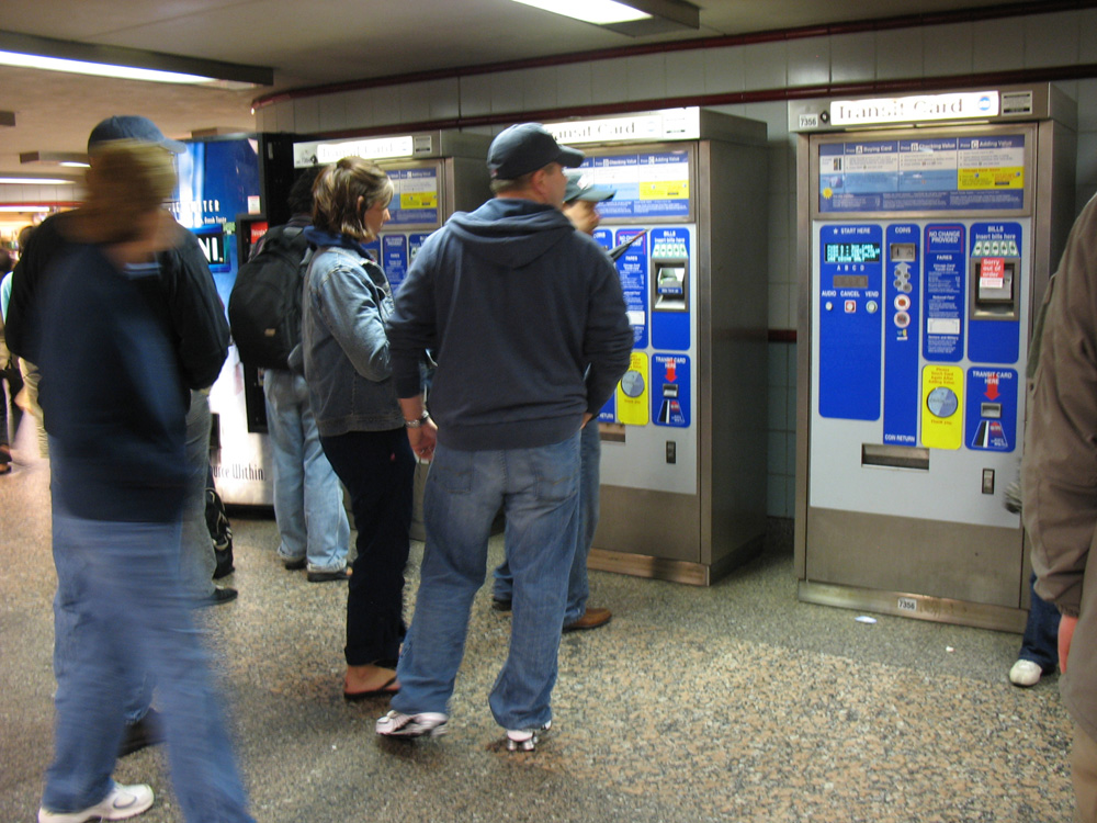 Ticket machines in Chicago station on the Red Line.