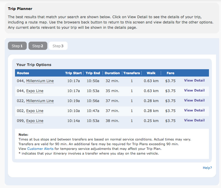 Five options now appear when you use the trip planner!