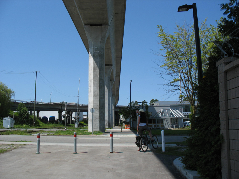 Under the SkyTrain guideway in Burnaby.
