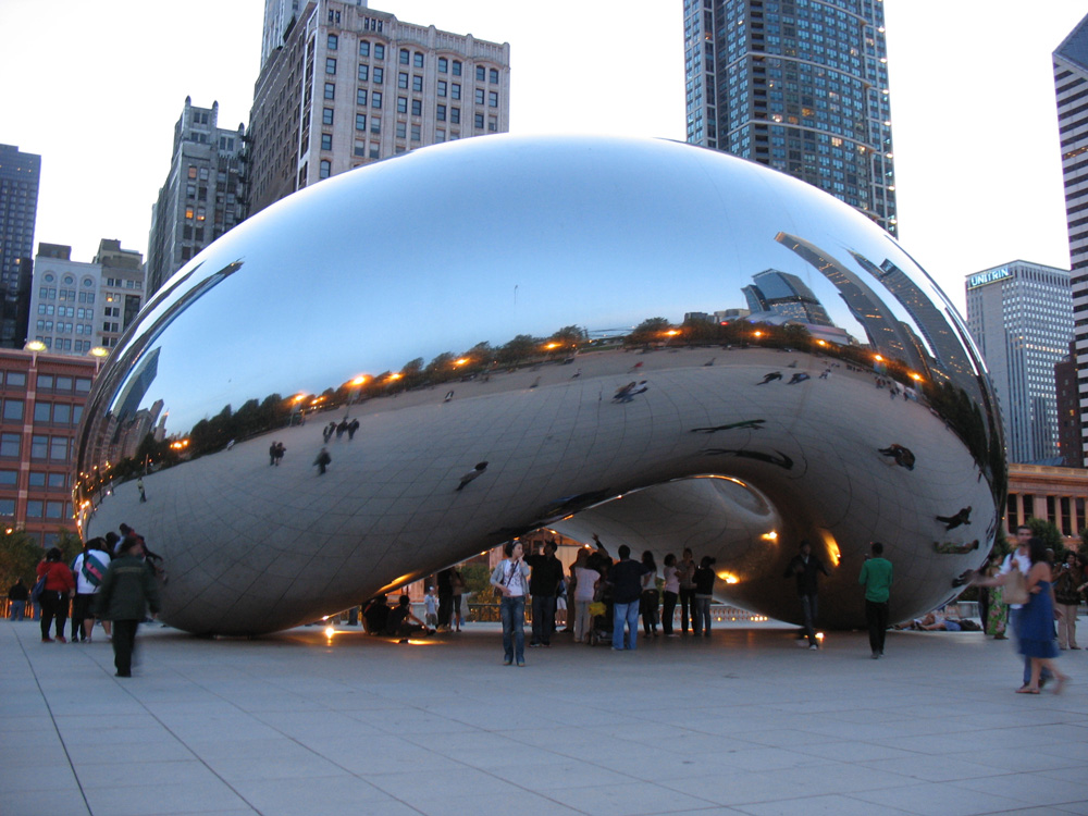 Cloud Gate in Millennium Park (also known as the bean).